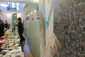 Coffee and cake celebrations after the unveiling of Ishbel Campbell's mosaic